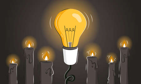 Game changer abstract vector illustration with the light bulb among candles as a concept of innovative ideas and new solutions. Thinking outside the box as a leadership strategy. Pioneer metaphor