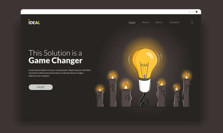 Game changer vector first screen template with the light bulb among candles as a concept of innovative ideas and new solutions. Thinking outside the box as a leadership business strategy