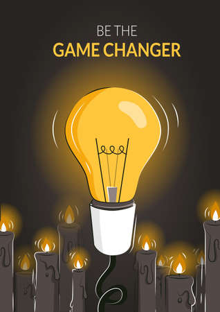 Game changer abstract vector poster template with the light bulb among candles as a concept of innovative ideas and new solutions. Thinking outside the box as a leadership strategy. Pioneer metaphor