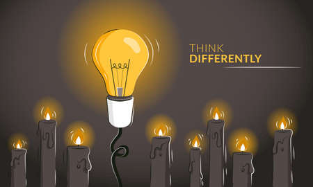 Think differently motivational horizontal banner with the light bulb among candles as a concept of innovative ideas. Thinking outside the box as a leadership strategy. Game changer metaphor