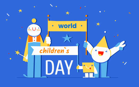 World Childrens Day - November 20 - horizontal vector banner template with cheerful childish geometric characters on blue background. Annual celebration in honor of children from all over the world 向量圖像