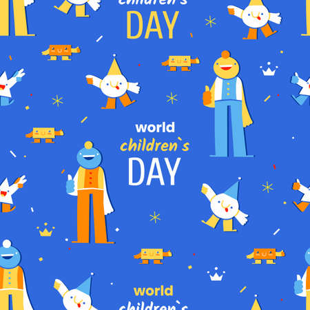 World Children's Day - November 20 - vector seamless pattern with cheerful childish geometric characters and the text on blue background. Annual celebration in honor of children 向量圖像
