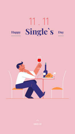 Young single man is celebrating Singles day - November 11 - with wine and roast social media story template. Holiday for bachelors, which opens Chinese shopping season. Social and cultural trends