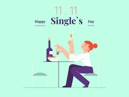 Young single woman is celebrating Singles day - November 11 - with white wine and strawberry banner template. Holiday for bachelors, which opens Chinese shopping season. Social and cultural trends