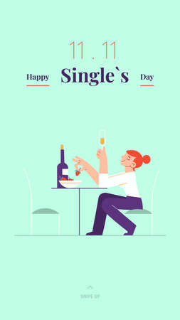 Young single woman is celebrating Singles day - November 11 - with white wine and strawberry social media story template. Holiday for bachelors, which opens Chinese shopping season
