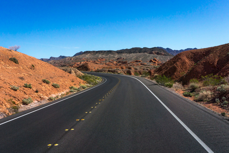 Desert road through Death Valley National Park, California Stock Photo