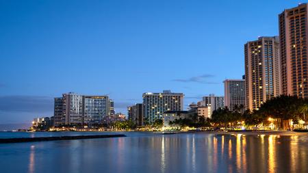 Sunrise of Waikiki beach skyline, Hawaii