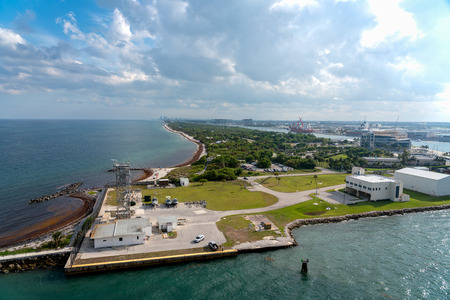 View of Port Everglades, Ft Lauderdale, Florida with blue sky and clouds