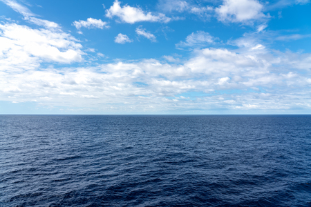 Atlantic Ocean Seascape - Ocean waves with blue sky and clouds