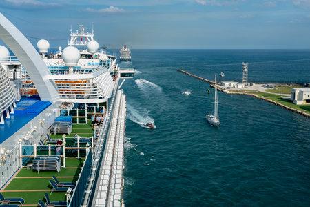 Port Everglades, Ft. Lauderdale - March 17, 2019: Cruise Ship, Princess Cruise line, Crown Princess, departs for a Caribbean Cruise from Port Everglades, Fort Lauderdale, Florida