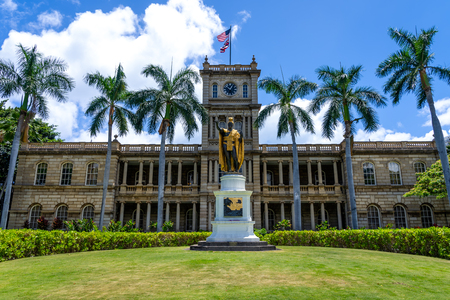 Honolulu, Hawaii June 10, 2018: King Kamehameha The Great Statue at AliÊ»iolani Hale Honolulu, Oahu, Hawaii