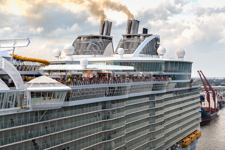 Port Everglades, Ft. Lauderdale - March 17, 2019: Cruise Ship sail away, Royal Caribbean Harmony of the Seas, prepares to depart for a Caribbean Cruise from Port Everglades, Fort Lauderdale, Florida