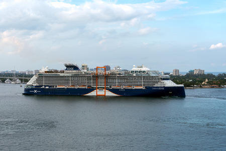 Port Everglades, Ft. Lauderdale - March 17, 2019: Cruise Ship, Celebrity Cruises, Celebrity Edge, prepares to depart for a Caribbean cruise from Port Everglades, Fort Lauderdale, Florida Editorial