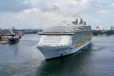 Port Everglades, Ft. Lauderdale - March 17, 2019: Cruise Ship, Royal Caribbean Harmony of the Seas, departs for a Caribbean Cruise from Port Everglades, Fort Lauderdale, Florida