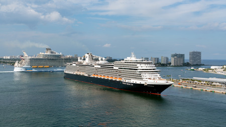 Port Everglades, Ft. Lauderdale - March 17, 2019: Cruise Ship, Holland America line, Koningsdam, departs for a Caribbean Cruise from Port Everglades, Fort Lauderdale, Florida Editorial