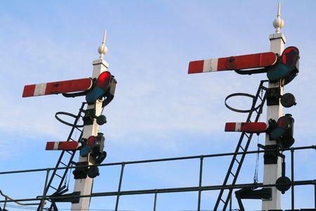 Twin Vintage Railway Signals set to Stop Imagens