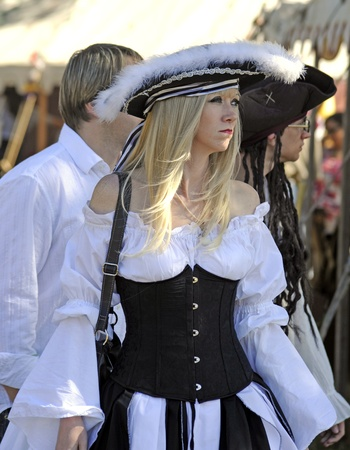 November 12-13 and 19-20 - Sarasota, Florida - Beautiful fairgoer dressed as pirate at the 2011 Sarasota Medieval Fair in Sarasota, Florida, USA. Editorial