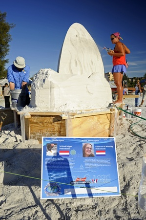November 11, 2011 - Sarasota, Florida, USA - Two Dutch Master Sculptors work on entry to Sarasota Crysta Classic  Stock Photo - 11249432