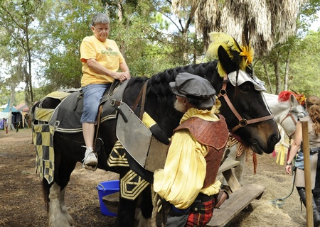 November 19 - 20, 2011 - Sarasota, Florida, USA - Woman sits on draft horse ready for a 5 minute ride during the Sarasota Medieval Fair.
