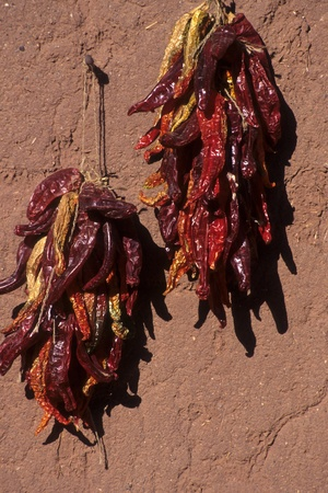 Two colorful ristras or arrangements of dried chili pepper pods, hanging on a brightly sunlit adobe wall. Appropriate to represent a hot topic. Stock Photo