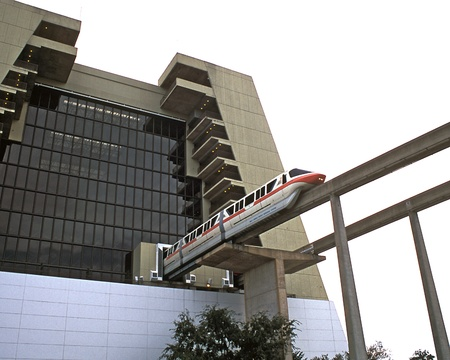 Monorail train leaving Contemporary Resort in Disney World, Orlando, Florida, USA.