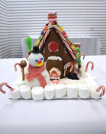 Sarasota, Florida, USA - December 9, 2011- Gingerbread house with snowman and marshmallows  entered in  the CYD Gingerbread Festival at Westfield Sarasota Square contest benefiting Community Youth Development.