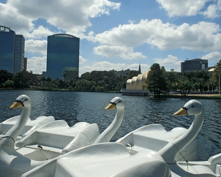Swan boats wait at dock on Lake Eola, Orlando, Florida. Band shell and skyline in background.