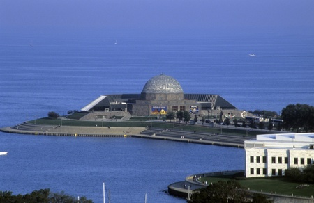 Aerial view of Adler Planetarium located on the Chicago River, Chicago, Illinois, USA. Editorial
