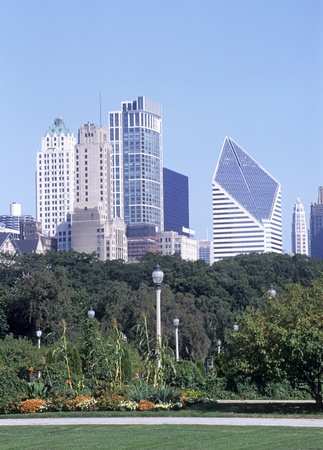Chicago skyline with tall buildings from Lurie Park garden in Millennium Park, Chicago, Illinois, USA.