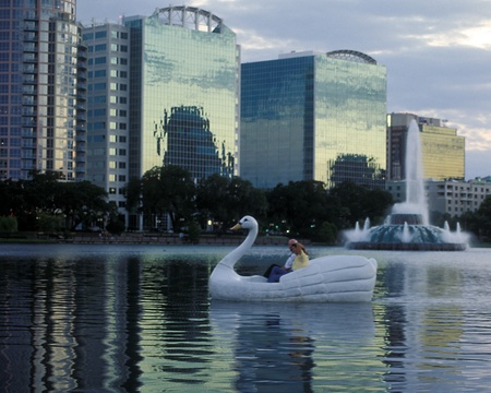 Lake Eola- swan boat and fountain at twilight