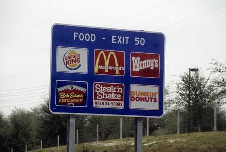 Highway sign for food