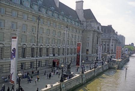 Aquarium and art galleries facing the Thames River, London, England.