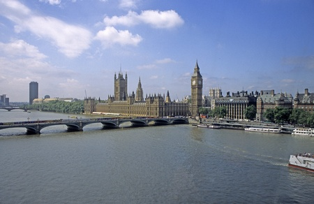 Skyline of London, England, with Big Ben, Parliment, and the Thames River.