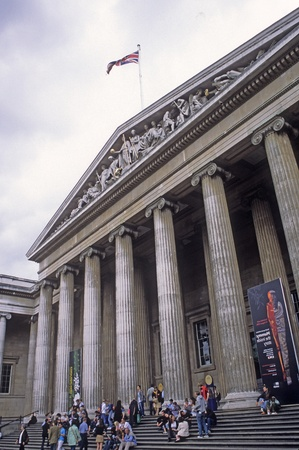 British Museum exterior in downtown London, England.