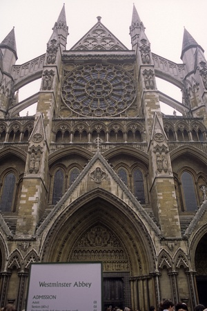 Entrance to Westminster Abby in London, Englalnd. Stock Photo