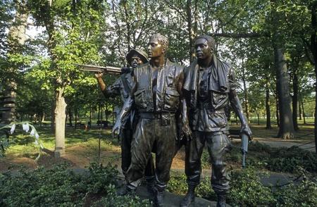 Bronze sculptures Vietnam Veterans Memorial Statue in Washington DC.  Editorial