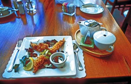 Delicious lunch of Shrimp Tempura and pot of tea served at San Diego California restaurant