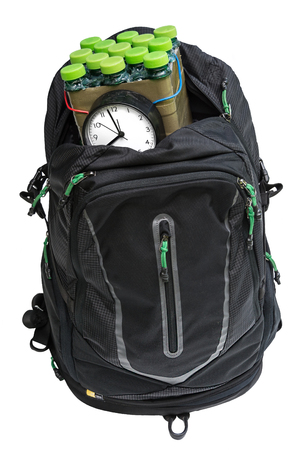 Timed bomb in backpack on white background (isolated) Stock Photo