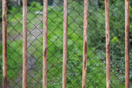 Old rusty double fence with blurred green background. Metal grate and wire mash.