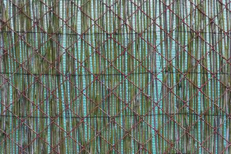 double reed: Double opaque fencing. Old rusty wire mash and green textile and reed on background.