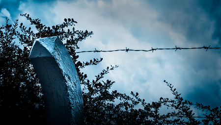 Beyond the barbed wire. Sad view of blue sky in moonlight through a wall with barbed wire.