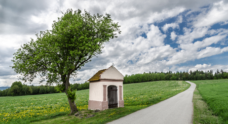 Beautiful panorama with small tree and chapel. The scenic rural landscape with forest on the horizon and cloudy sky.