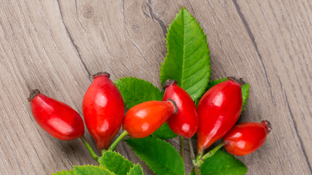 Close-up of branch with fresh hip fruits. Rosa canina. Beautiful briar twig detail. Red rosehips and decorative green leaves on wooden background. Idea of alternative, herbal and preventive medicine.