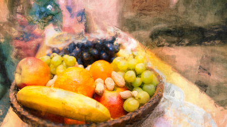 Fruits in a wicker basket. Artistic still life. Colorful fruit pile from juicy apples, banana, oranges, grapes and peanuts. Abstract background with pattern, painting effect and surreal festive mood. Stock Photo