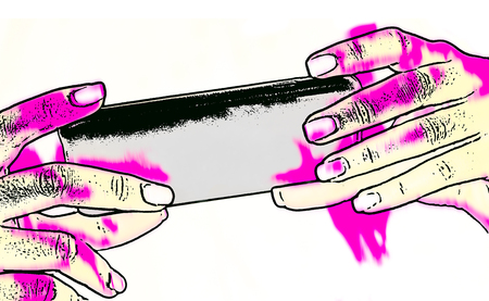 Female hands holding smartphone in showy sketch. Isolated on white background. Abstract creative design. Mobile phone in human fingers. Bright pink stains. On-line internet applications, social media.