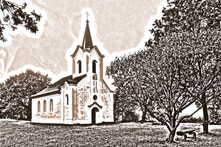 Scenic Christian Neo-Romanesque chaple. Artistic style in a look of brown toned drawing. Rural church with a cross on small tower top. Idyllic landscape with trees and bench. Tranquil religious scene.