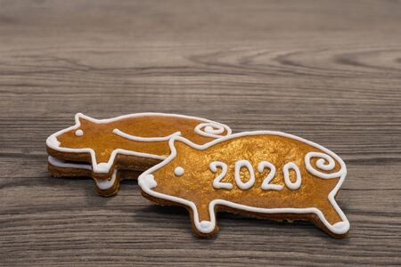 New Year 2020. Golden pig shaped gingerbread cookies for good luck. Cute sweet piggies from aromatic Xmas pastry on a brown wooden background. Handmade sweets for happiness decorated with white icing.