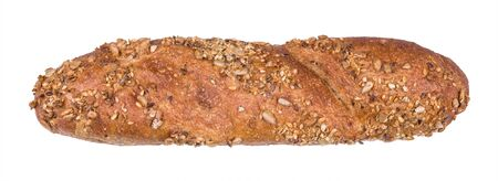One whole grain baguette sprinkled with healthy seeds isolated on white background. Detail of fresh crunchy bakery product with sunflower, sesame or linseed grains. Breakfast baked goods. Staple food. Foto de archivo
