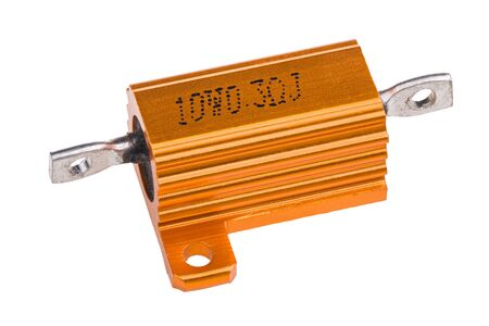 Orange aluminum encased power resistor isolated on white background. Single passive two-terminal electronic component with heat sink from anodized aluminium. Electrical resistance. Electrotechnology.