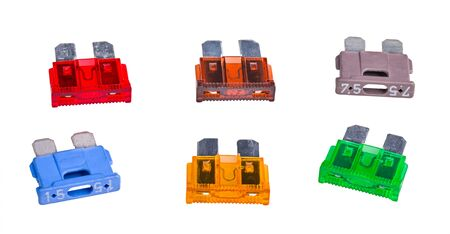 Set of automotive blade type fuses with two metal prongs isolated on white. Group of colored plastic overcurrent protectors with rated current in amperes. Electric safety device used in automobiles.